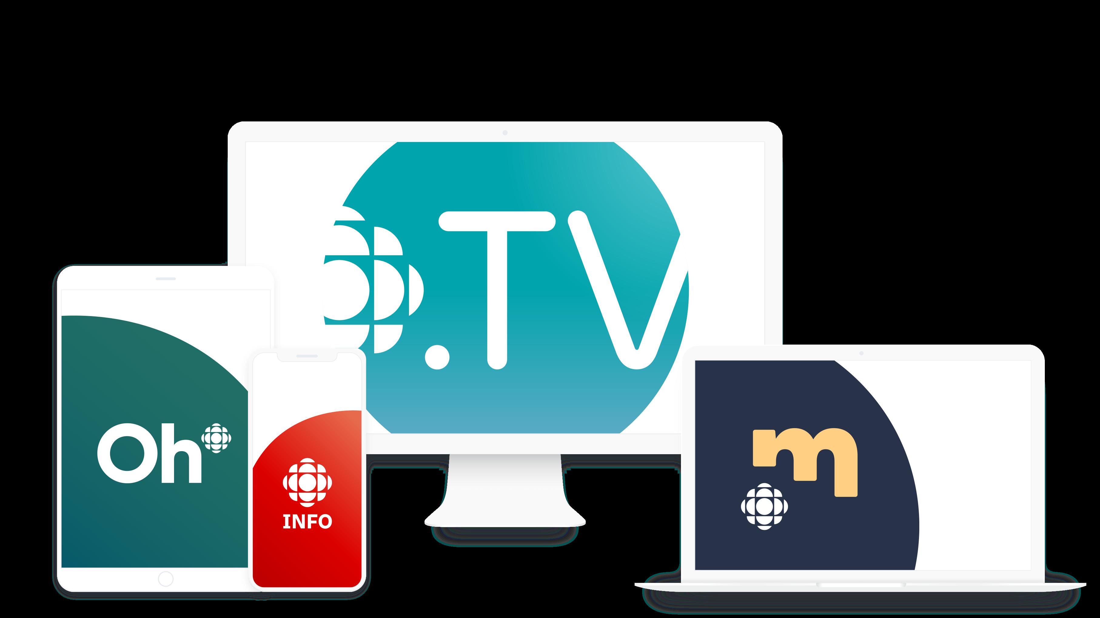 Illustration présentant les logos des différentes plateformes de Radio-Canada sur une variété d'appareils